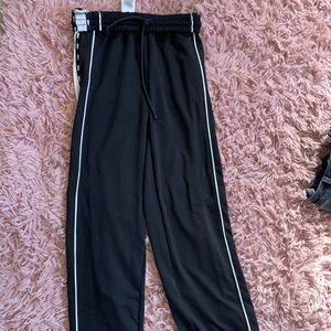 Black and white strapped joggers